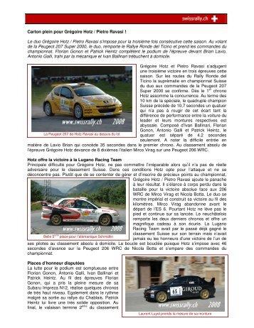 Compte rendu - Championnat suisse des rallyes
