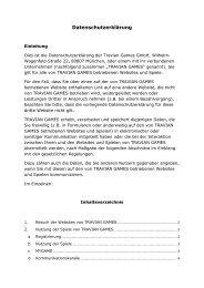 Datenschutzerklärung - Travian Games GmbH