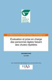 Chutes répétées PA - Argumentaire - Haute Autorité de Santé