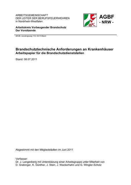 Brandschutztechnische Anforderungen an ... - AGBF NRW
