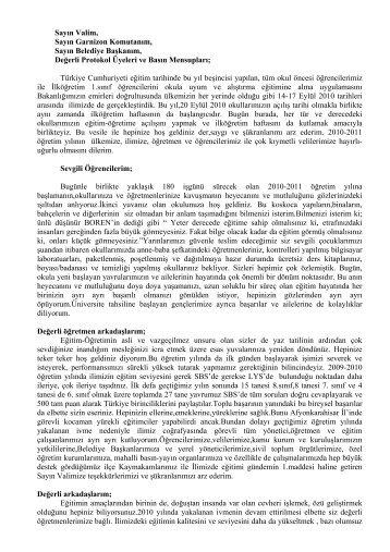 İl Milli Eğitim Müdürü Hidayet YILDIRIM'ın Açılış Konuşma Metnini ...