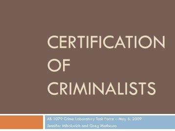 Certification of Criminalists