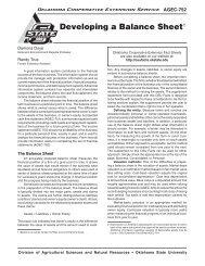 AGEC-752 Balance Sheet - Oklahoma State University