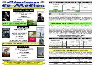 Programme Méliès du 24 février au 16 mars 2010 - Cinéma Le Melies