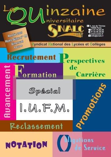 Rentrée 2005 - Hors série n°15 Spécial IUFM - Snalc.org