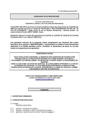 assurance mastercard notice d 39 information cic. Black Bedroom Furniture Sets. Home Design Ideas