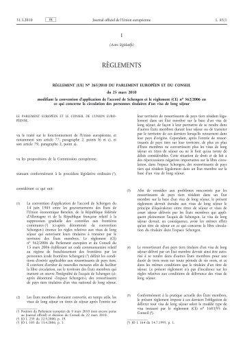 Règlement (UE) no 265/2010 du Parlement européen et ... - EUR-Lex