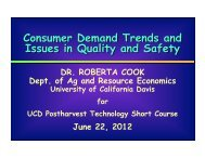 Consumer Demand Trends and Issues in Quality and Safetey