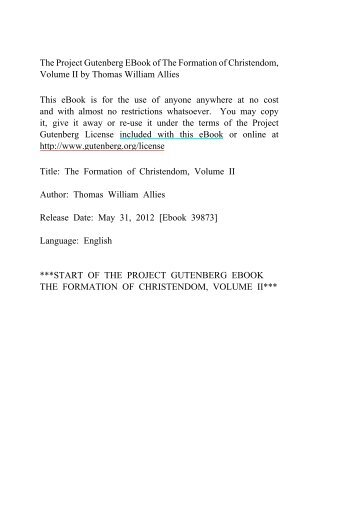 The Formation of Christendom, Volume II - Mirrors hosted by ...