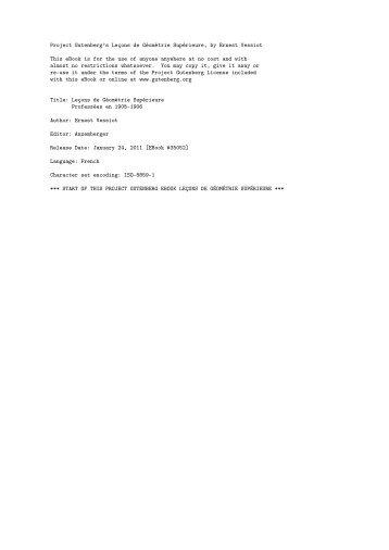 The Project Gutenberg eBook #35052:L'Lecons de Geometrie ...