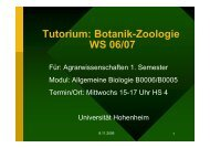 Tutorium: Botanik-Zoologie WS 06/07 - Universität Hohenheim