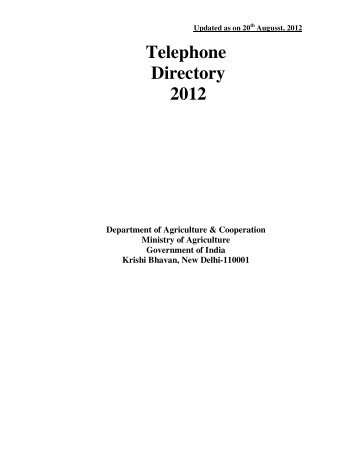 Telephone Directory 2012 - Department of Agriculture & Co-operation