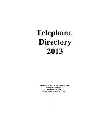 Telephone Directory 2013 - Department of Agriculture & Co-operation