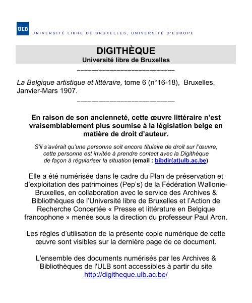 Tome 6n°16 18De Bruxelles L'université Libre dxCrBWoe