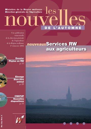 LN 25, automne 2002. - Portail de l'Agriculture wallonne