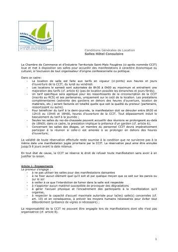 Conditions générales de location salles - (CCI) du Pays de Fougères