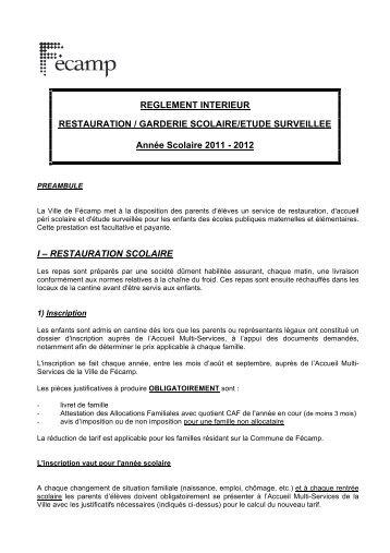 RESTAURATION SCOLAIRE - Fécamp