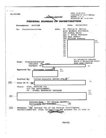 FBI Memo: FISA Section 702