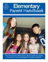 Elementary Parent Handbook - the York Catholic District School Board