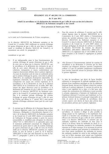 Règlement (UE) no 601/2012 de la Commission du 21 ... - EUR-Lex