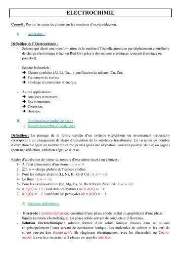 ELECTROCHIMIE - Le blog de Mesures Physiques