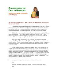 CHILDREN AND THE CALL TO MISSIONS - AG Web Services