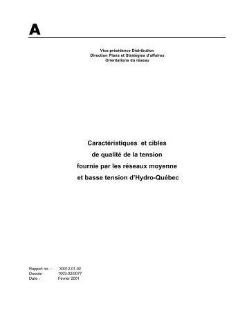 Caractéristiques et cibles de qualité de la tension ... - Hydro-Québec