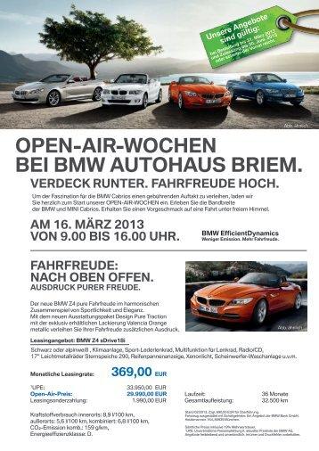 OPEN-AIR-WOCHEN BEI BMW AUTOHAUS BRIEM.