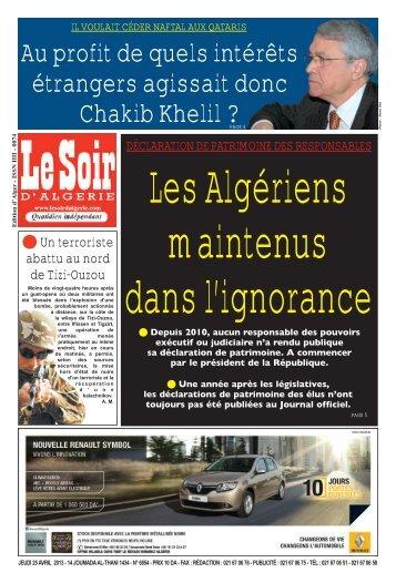 Au profit de quels intérêts étrangers agissait donc ... - Le Soir d'Algérie