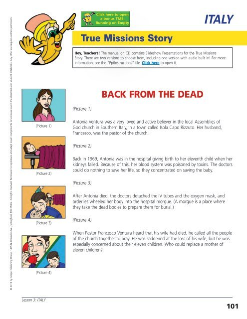 True Missions Story BACK FROM THE DEAD - AG Web Services