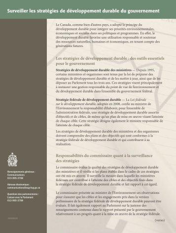 Surveiller les stratégies de développement durable du gouvernement