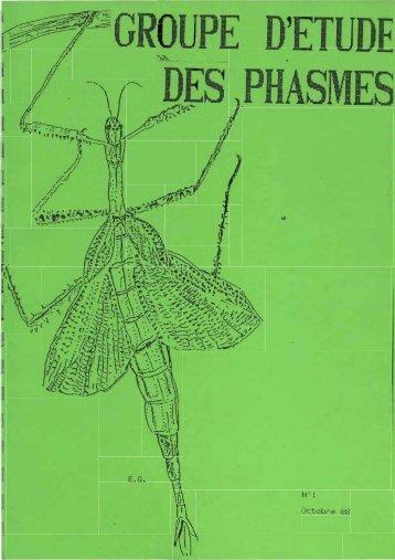 Le Monde des Phasmes 1 (Octobre 1988). - Phasmid Study Group