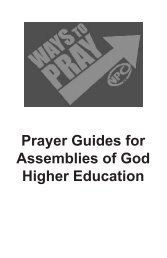 Prayer Guides for Assemblies of God Higher ... - AG Web Services