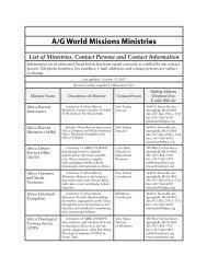 AGWM ministries list - Assemblies of God World Missions