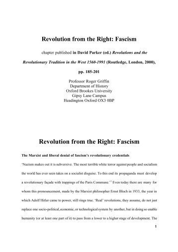 Revolution from the Right: Fascism - School of Arts and Humanities ...
