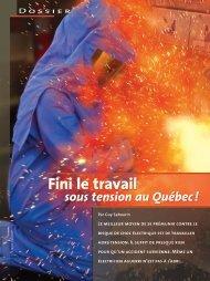 Fini le travail sous tension au Québec - Irsst