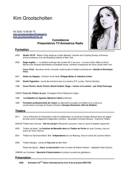 cv de kim Lien CV de Kim Grootscholten   Christian Boisard
