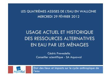 Usage actuel et historique des ressources alternatives en ... - AquaWal