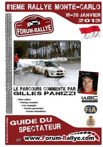 Guide du Spectateur Monte-Carlo 2013 par Forum-Rallye - version light