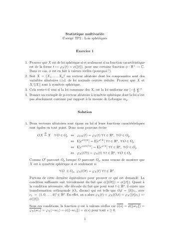 Statistique multivariée Corrigé TP2 : Lois sphériques Exercice 1 1 ...