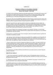 U N E S C O Déclaration de Mexico sur les politiques culturelles ...