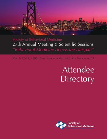 Attendee Directory - Society of Behavioral Medicine