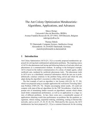 The Ant Colony Optimization Metaheuristic - VUB Artificial ...