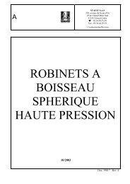 ROBINETS A BOISSEAU SPHERIQUE HAUTE PRESSION - STAUFF