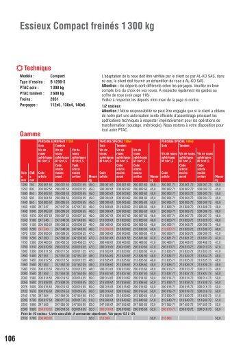 catalogue essieux Al-Ko 1300 kg freiné - Franssen