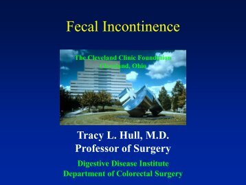 Keynote Lecture: Fecal Incontinence