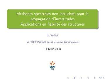 Méthodes spectrales non intrusives pour la propagation d ...