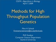 Methods for high throughput population genetics - Stanford AI Lab ...