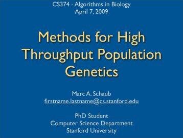 Methods for high throughput population genetics - Stanford AI Lab ...