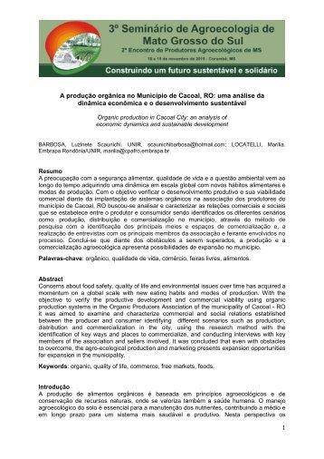Modelo Resumo Trabalho - VI CBAgroecologia e ... - Ainfo - Embrapa